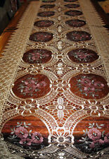 """Vintage Style Lace Table Runner with Burgundy Floral Sheer Inserts 16"""" x 72"""""""