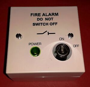 BS5839 Fire Alarm Mains Isolation Key Switch Fused Spur in WHITE Fire Alarm Spur