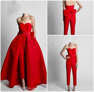 Pant Suit Red Wedding Bridal Dresses with Detachable Skirt Strapless Custom New