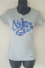 NIKE womens graphic tee tshirt XS extra small gray blue Slim fit shoelaces crew