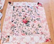 WAVERLY fabric CUSTOM BABY GIRL FLORAL SHABBY CHENILLE TOILE PINK QUILT SKIRT 4P