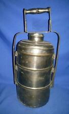 Vintage Old Brass Nickel Plated Handcrafted 3 Compartment Tiffin Lunch Box India