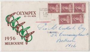 Stamps Australia 1d brown queen coil perf strip & pair on 1960 souvenir cover