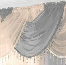 READY MADE VOILE SWAG x 1 DRAPE PELMET CURTAIN CRYSTAL BEADED TRIM SWAGS TASSLE