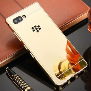 For Blackberry Key 2 Shockproof Aluminum Metal Frame Bumper Case PC Mirror Cover