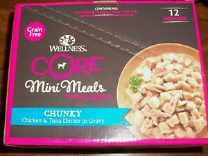 12 Pack WELLNESS CORE MINI MEALS Small Breed Dogs, Chunky Chicken & Tuna, 1 Case