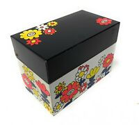 Vintage OHIO ART Metal Kitchen Recipe Box - Retro COLORFUL HAPPY Flower DESIGN