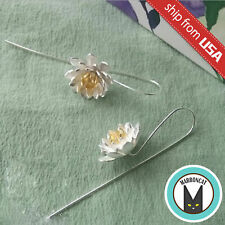 925 Sterling Silver Lotus Flower Designer Dangle Earrings Ear Wire Hook Novelty