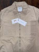 Denim & Flower Men's Tan Trucker Zip Up Jacket Size Medium