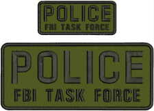 POLICE FBI TASK FORCE EMBROIDERY PATCH 4X10 AND 2X5  hook on back od green/blk