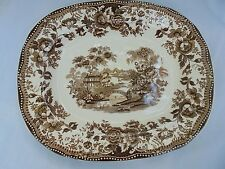 Royal Staffordshire Platter Brown Transferware Tonquin Chinoiserie Vintage Oval