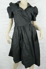 DIZINGOF black cotton blend wrap full structured skirt formal dress size 8 BNWT