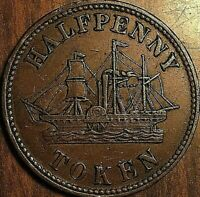 1850s PEI PADDLE WHEELER FISHERIES AND AGRICULTURE HALF PENNY TOKEN - Breton 921