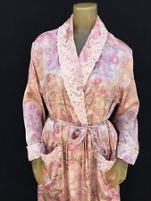 CABERNET ~ SILKY SATIN PAISLEY FLORAL Embroidered Collar & cuffs Long Robe Small