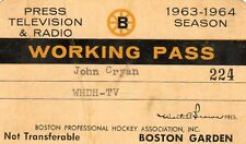 1963-64 Boston Bruins Season Ticket Pass Eddie Johnston/Johnny Bucyk/Ted Green