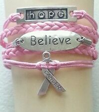 CANCER, HOPE, BELIEVE, LEATHER BRAIDED ADJUSTABLE BRACELET - SILVER ALLOY #23