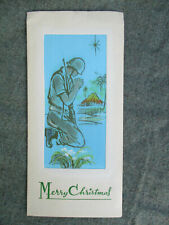 Vintage 1965 Vietnam War Us Army Soldier or Marine Praying Christmas Card To Son
