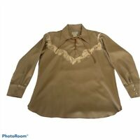 California Ranchear Mens Western Cowboy Shirt Long Sleeve Lace Up Fringe XL
