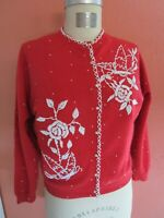 M L Red Beaded Cardigan Knit Sweater Vintage 1960s Glass Lambswool Hong Kong