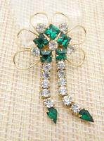 Green Clear Rhinestone Gold Tone Dangle Flower Pin Brooch Pendant Vintage