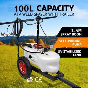 100L ATV WEED SPRAYER 1.5M Boom ATV Trailer Spot Adjust BOOM Spray Garden Farm
