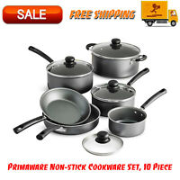 Primaware 10 Piece Non-stick Cookware Set, Kitchen Home, Pots & Pans Set, Gray