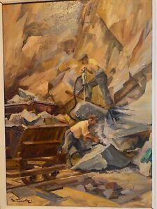 Karl Timmler, Diabassteinbruch Mellenbach (Thüringen), 1960, Öl/HF, Gemälde ,DDR