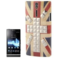 Estuche duro para Sony Xperia S retro bandera inglesa con color plateado en tachuelas funda