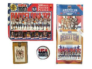 USA Basketball 1992 Dream Team Puzzle NIB Lot + Audio Book 2 Poster Books Plate