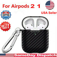 Carbon Fiber Wireless Charging Case Cover Protector For Apple AirPods 2 1 BLACK