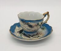 Vintage Dragonware Moriage Demitasse Cup and Saucer Blue Post WWII Made in Japan