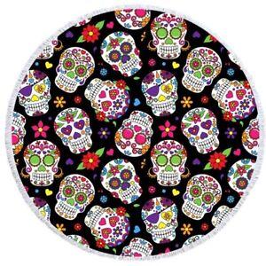 Cool Gothic Sugar Skull Rose Flower Print Large Round Pool Swim Bath Beach Towel