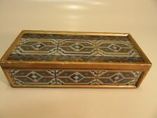 Vintage Wood Box With Glass  over drawing design  9'' by 4'' by 2 1/2'' tall