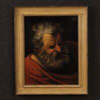 Dipinto olandese quadro firmato ritratto stile antico olio su tavoletta cornice