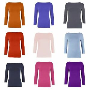 M&S Marks and Spencer Womens Slash Neck Jersey Top 3/4 Sleeve T Shirt