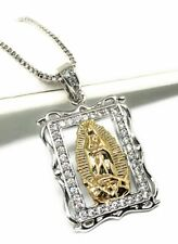 "Gold Plated White Gold Virgen Guadalupe Necklace Pendant Virgin Mary 20"" Chain"