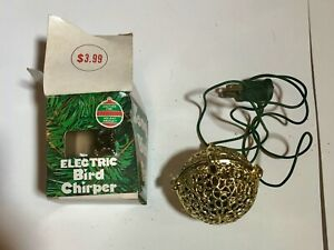 Vintage Gold Electric Chirping Bird Christmas Ornament w Box