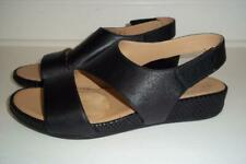 Naturalizer N5 Contour YESSICA Black Leather Slingback Wedge Sandals 10M