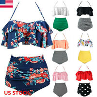 Women Push-up Padded Bandage High Waist Bikini Set Swimsuit Swimwear Plus Size