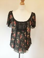 Ralph Lauren Top Large Denim and Supply Black Floral Lacey Sheer Stretch Prairie