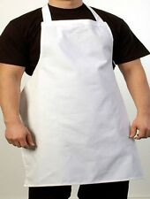 1 NEW WHITE CHEFS COMMERCIAL GRADE BIB APRON POLY COTTON BLEND CHEFS COOKING BBQ