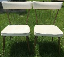 """Set of 2 Mid-Century Retro Daystrom Wrought Iron Kitchen Chairs Chair 30"""" Ivory"""