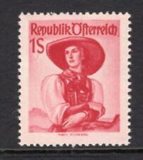 Austria 1950 Costume 1S Carmine MNH Key Value CV$110