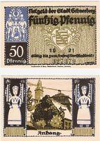 Germany 50 Pfennig 1921 Schneeberg Notgeld UNC Uncirculated Banknote