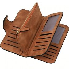 Women Bifold Wallet Checkbook Card Holder Leather Clutch Coin Purse Phone Bag