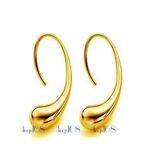 Genuine 18K Yellow Gold Filled Elegant 1 inch Teardrop Charm Drop Earrings H1D