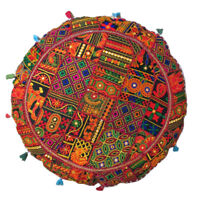 "32"" Patchwork Indian Handmade Floor Cushion Round Cover Pillow Meditation Decor"