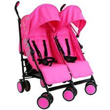 Baby Girls Double Twin Stroller Pram Pushchair Raincover Buggy
