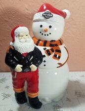 Harley Davidson Cookie Jar Biker Santa with Snowman Christmas Motorcycle RARE