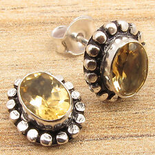 925 Silver Plated Over Solid Copper CHRISTMAS Gift ! CITRINE Gems Stud Earrings